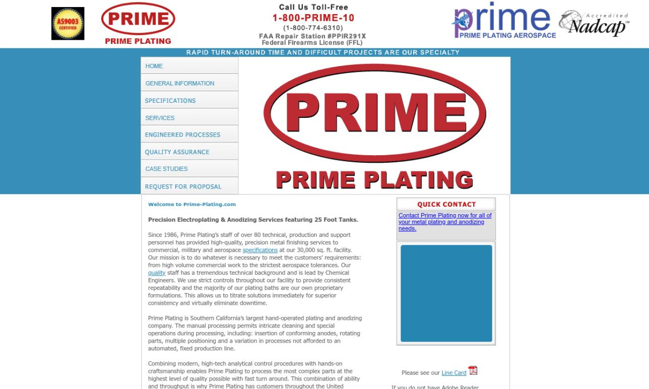 Prime Plating, Inc.